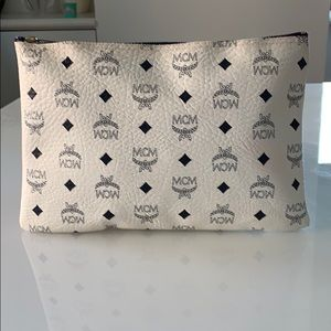 MCM White and Navy Monogram zippered pouch clutch